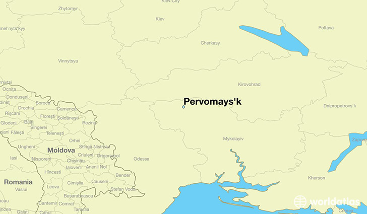 map showing the location of Pervomays'k
