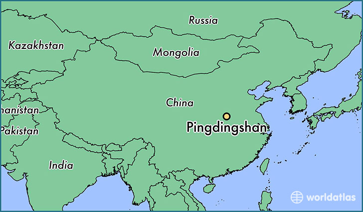 map showing the location of Pingdingshan