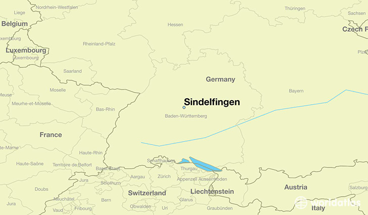 map showing the location of Sindelfingen