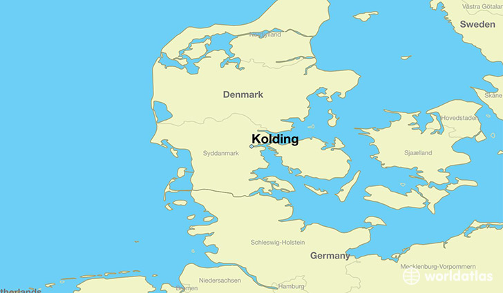 map showing the location of Kolding