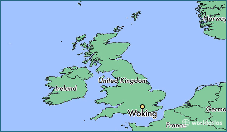 map showing the location of Woking
