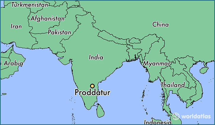 map showing the location of Proddatur