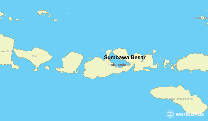 map showing the location of Sumbawa Besar