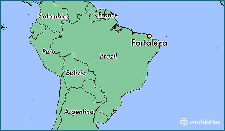 Where is Fortaleza Brazil Fortaleza Ceara Map WorldAtlascom