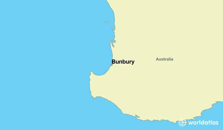 map showing the location of Bunbury