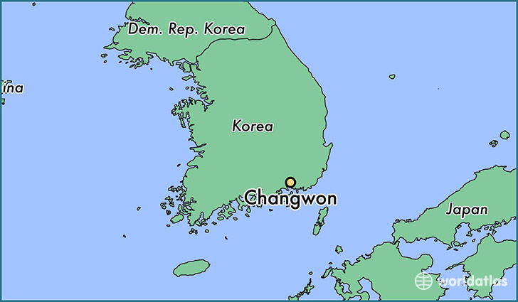 map showing the location of Changwon