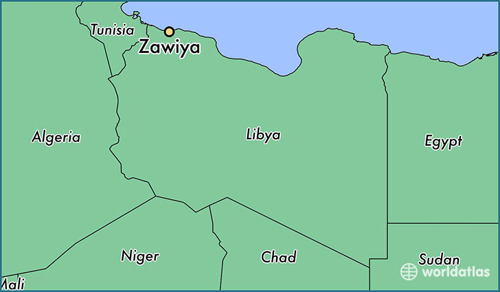 map showing the location of Zawiya