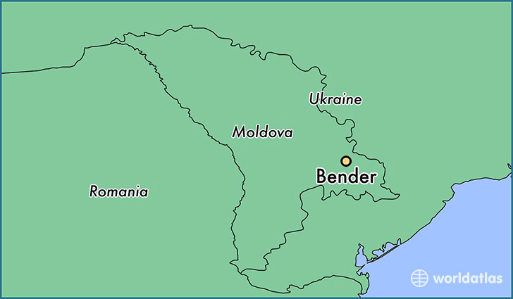 map showing the location of Bender