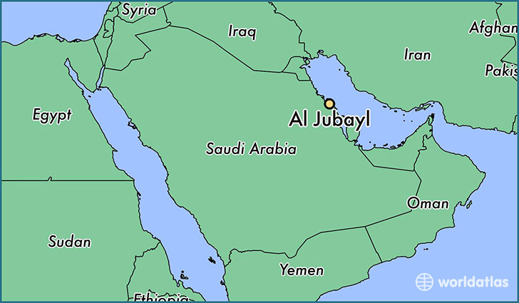map showing the location of Al Jubayl