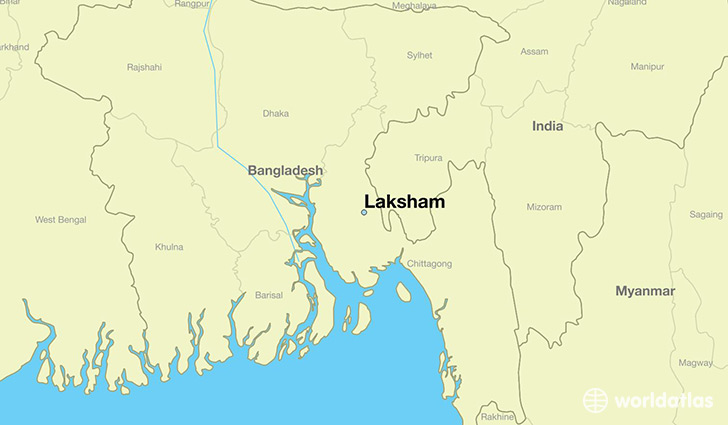 map showing the location of Laksham