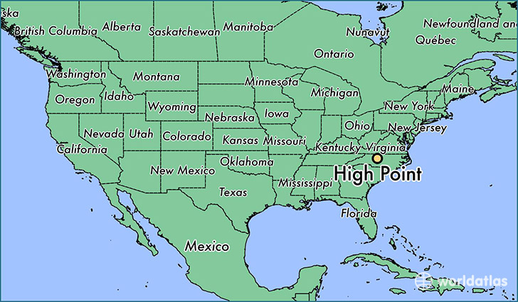 map showing the location of High Point