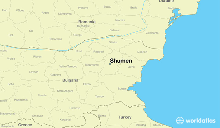 map showing the location of Shumen