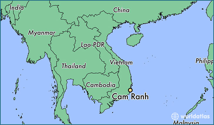 map showing the location of Cam Ranh