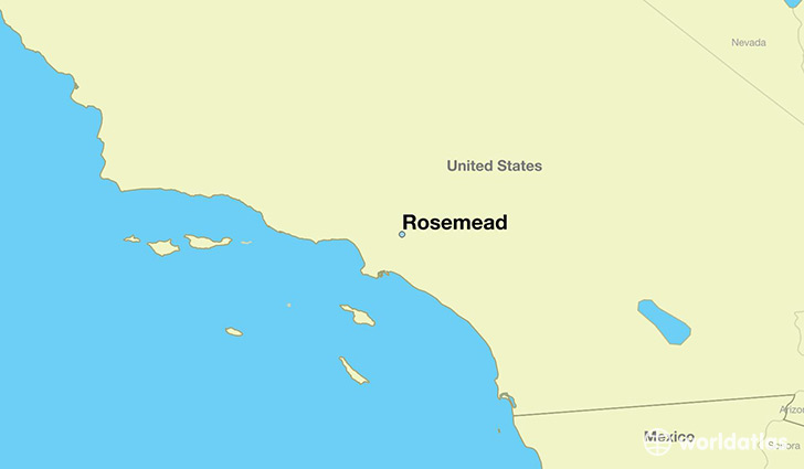 map showing the location of Rosemead