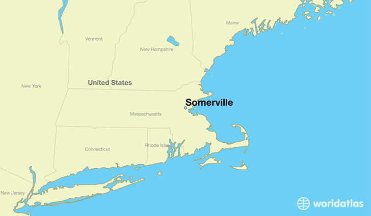 map showing the location of Somerville