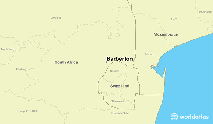 map showing the location of Barberton