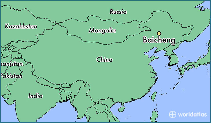 map showing the location of Baicheng