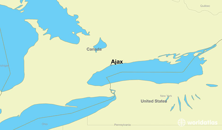 map showing the location of Ajax