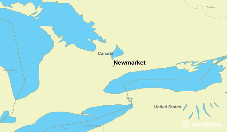 map showing the location of Newmarket
