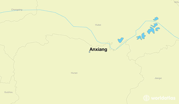 map showing the location of Anxiang