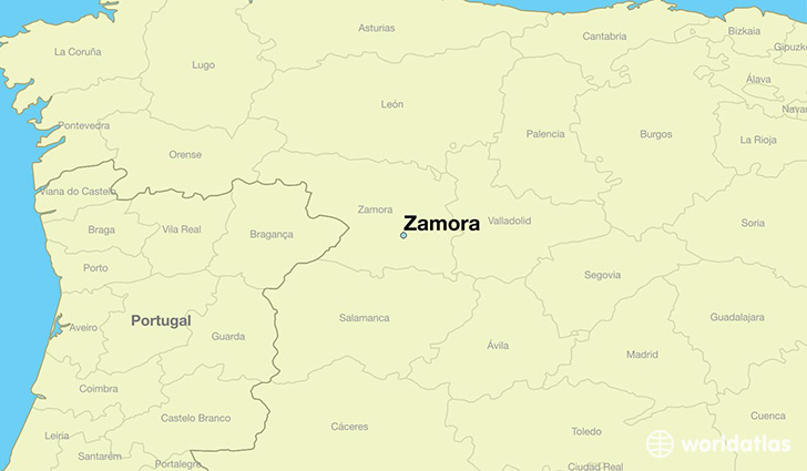 map showing the location of Zamora