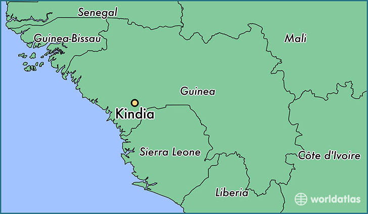 map showing the location of Kindia