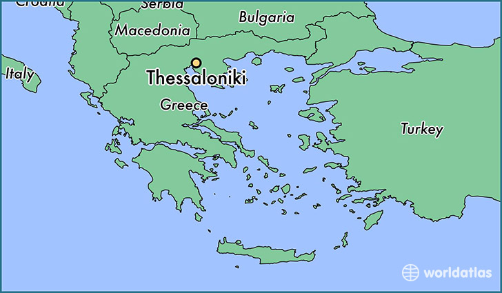 map showing the location of Thessaloniki