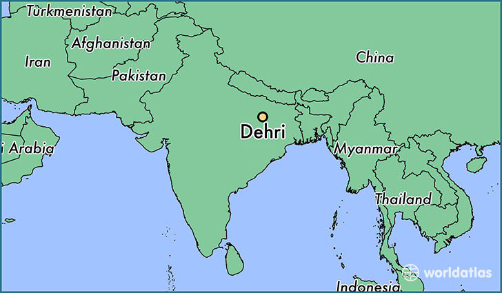 map showing the location of Dehri