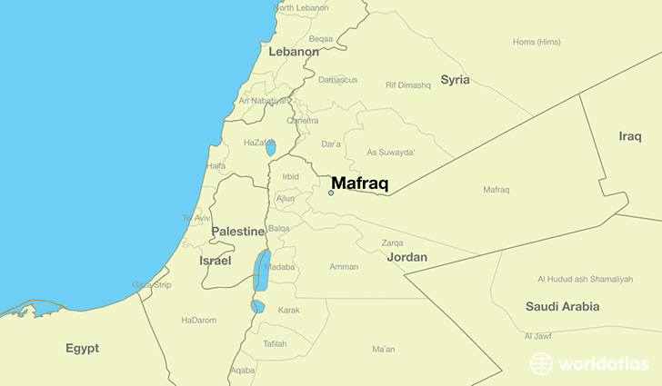 map showing the location of Mafraq