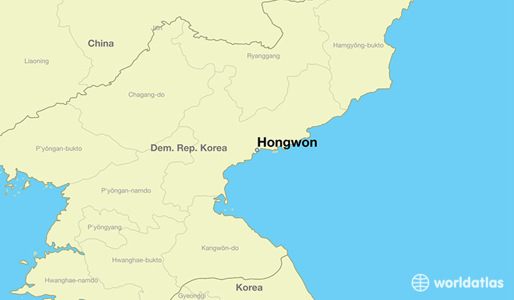 map showing the location of Hongwon