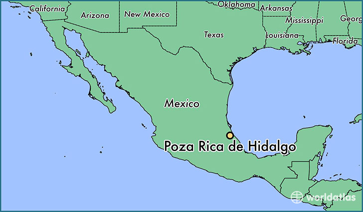 map showing the location of Poza Rica de Hidalgo