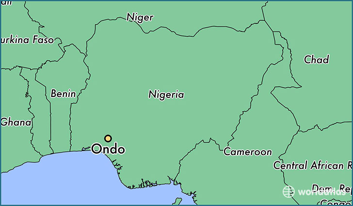 map showing the location of Ondo