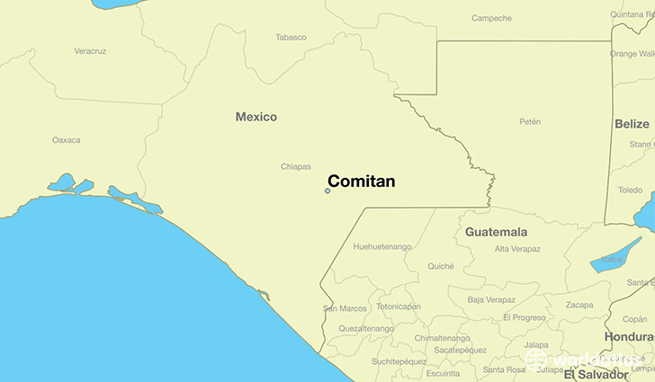 map showing the location of Comitan