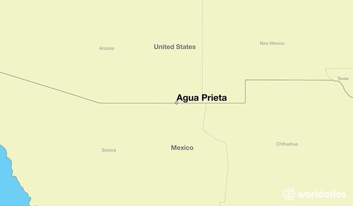 map showing the location of Agua Prieta
