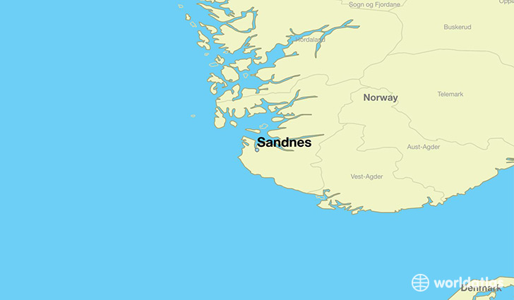 map showing the location of Sandnes