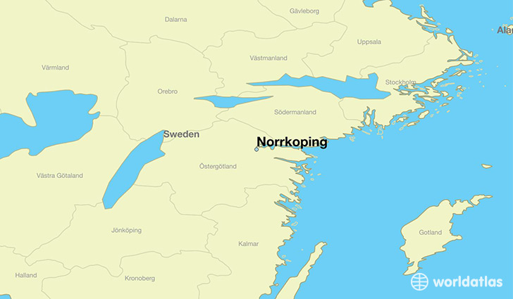 map showing the location of Norrkoping