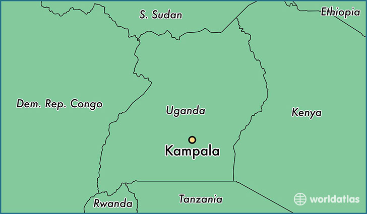 map showing the location of Kampala
