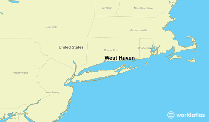 map showing the location of West Haven