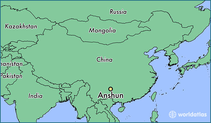 map showing the location of Anshun