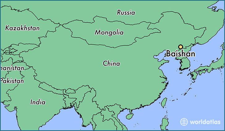 map showing the location of Baishan