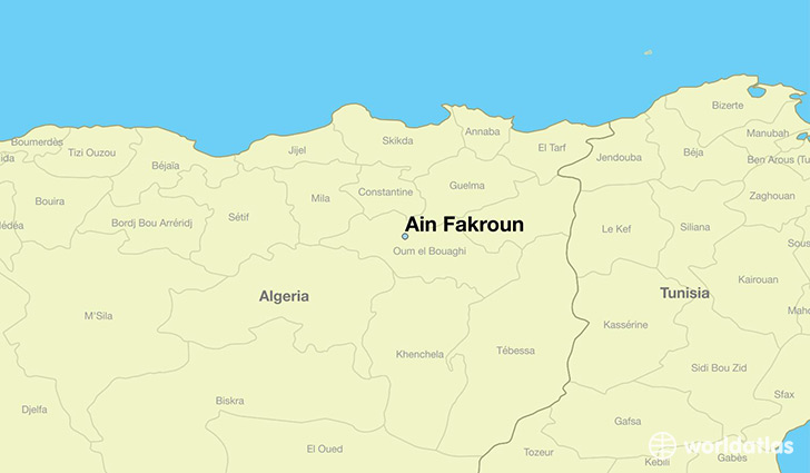 map showing the location of Ain Fakroun