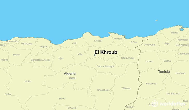 map showing the location of El Khroub