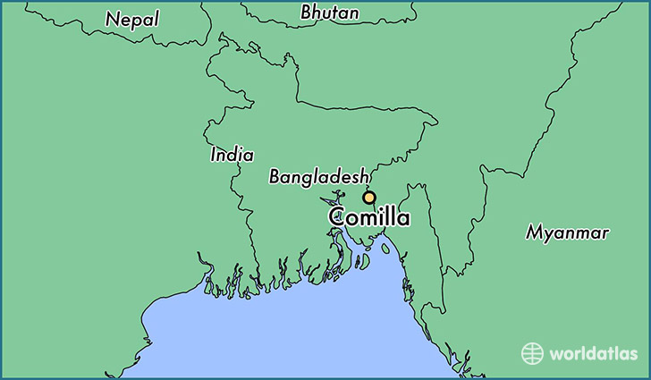 map showing the location of Comilla