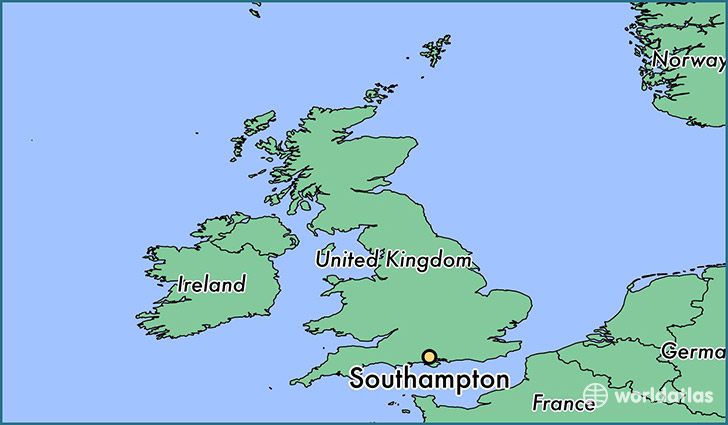 map showing the location of Southampton