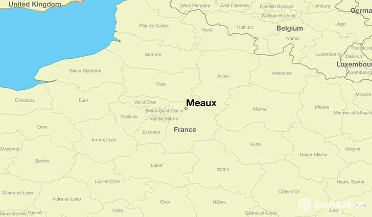 map showing the location of Meaux