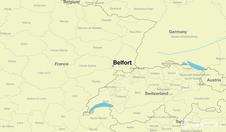 map showing the location of Belfort
