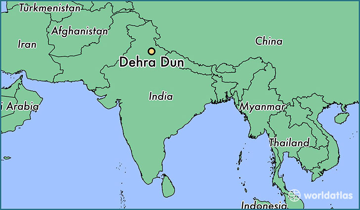 map showing the location of Dehra Dun