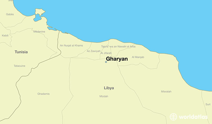 map showing the location of Gharyan
