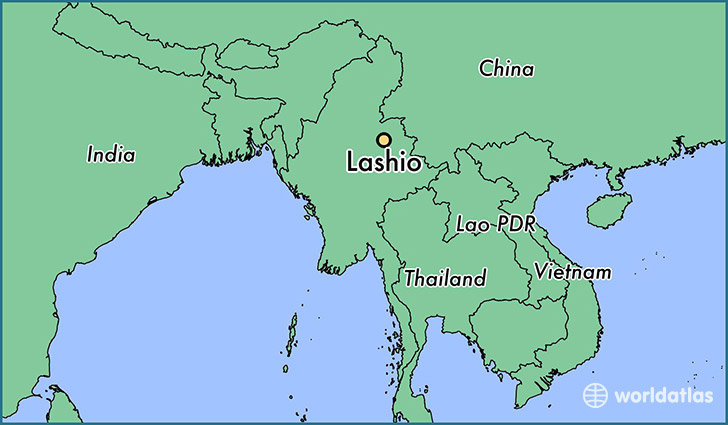 map showing the location of Lashio