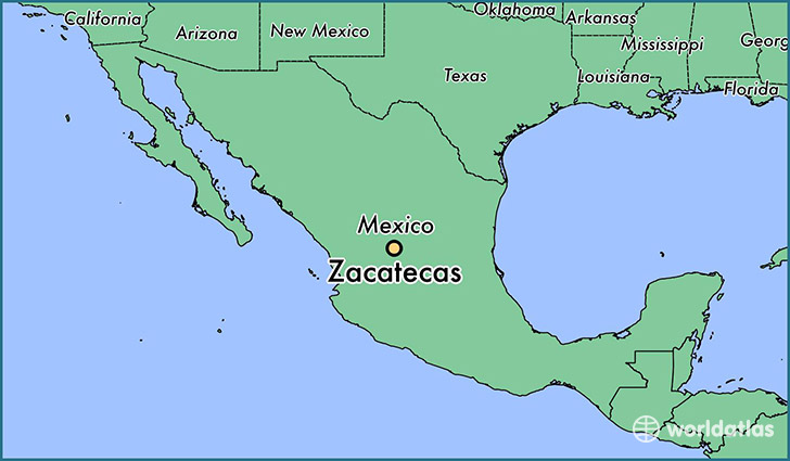 map showing the location of Zacatecas